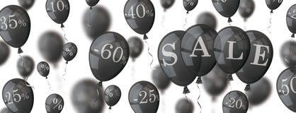 Black Balloons Percents Sale Header Stock Photo
