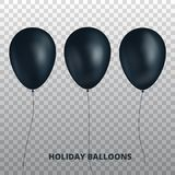 Black balloons. Realistic black balloons isolated on transparent background. Stock Photography