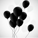 Black balloons  on white background Stock Images