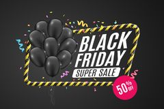 Black balloons in a yellow frame with black lines. Sign of caution. 3D Banner for sale Black Friday on a yellow background. Big di. Black balloons in a yellow Stock Photography