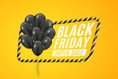 Black balloons in a yellow frame with black lines. Sign of caution. 3D Banner for sale Black Friday on a yellow background. White. Text. Vector illustration Stock Images