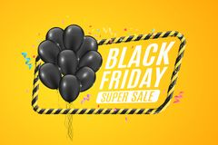 Black balloons in a yellow frame with black lines. Sign of caution. 3D Banner for sale Black Friday on a yellow background. White. Text. Colorful confetti and Stock Image