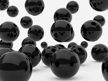 Black balls. High resolution image black spheres. 3d illustration over  white backgrounds Stock Photography