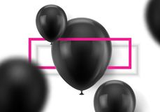 Black balls on white background. Set of black realistic balloons, two in focus, the rest blurred and a pink frame. Vector illustration  on white background Stock Photo