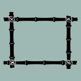 Black bamboo frame background. Stock Photo