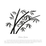 Black bamboo silhouette on a white background Stock Images