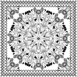 Black Bandana Print design. Fabric pattern for silk scarf. Stock Photos