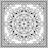 Black Bandana Print design. Fabric pattern for silk scarf. Stock Images