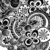 Black Bandana Print with flowers ornament and doodle style elements.  Royalty Free Stock Photo