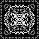 Black Bandana Print, silk neck scarf or kerchief. Square pattern design style for print on fabric, vector illustration Stock Images