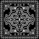 Black Bandana Print, silk neck scarf or kerchief. Square pattern design style for print on fabric, vector illustration Stock Image