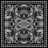 Black Bandana Print, silk neck scarf or kerchief. Square pattern design style for print on fabric, vector illustration Royalty Free Stock Photography