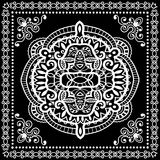 Black Bandana Print, silk neck scarf or kerchief. Square pattern design style for print on fabric, vector illustration Royalty Free Stock Photos