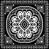 Black Bandana Print, silk neck scarf or kerchief Royalty Free Stock Photo