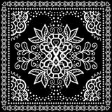 Black Bandana Print, silk neck scarf or kerchief Royalty Free Stock Photography