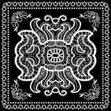Black Bandana Print, silk neck scarf or kerchief Stock Photo