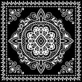 Black Bandana Print, silk neck scarf or kerchief Stock Photos