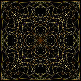 Black bandanna with gold floral pattern Royalty Free Stock Image