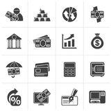 Black Bank, business and finance icons. Vector icon set Royalty Free Stock Photos