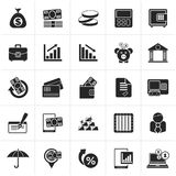 Black Bank, business and finance icons. Vector icon set Stock Photos