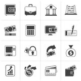 Black Bank, business and finance icons. Vector icon set Stock Image