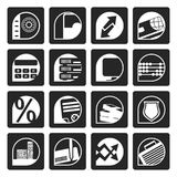 Black bank, business, finance and office icons. Vector icon set Stock Image
