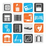 Black bank, business, finance and office icons. Vector icon set Royalty Free Stock Photography