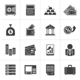Black Bank and Finance Icons. Vector Icon Set Stock Photography
