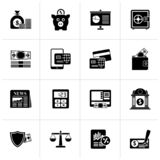 Black banking and financial services icons. Vector icon set royalty free illustration