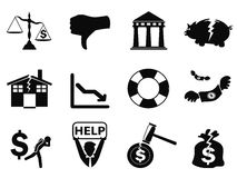 Black bankruptcy icons set. Isolated black bankruptcy icons set from white background vector illustration