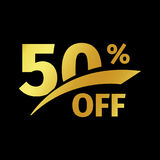 Black banner discount purchase 50 percent sale vector gold logo on a black background. Promotional business offer for. Buyers logotype. Fifty percentage off Vector Illustration