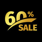 Black banner discount purchase 60 percent sale vector gold logo on a black background. Promotional business offer for. Buyers logotype. Sixty percentage off vector illustration