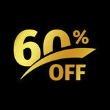 Black banner discount purchase 60 percent sale vector gold logo on a black background. Promotional business offer for. Buyers logotype. Sixty percentage off royalty free illustration