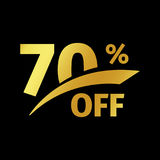 Black banner discount purchase 70 percent sale vector gold logo on a black background. Promotional business offer for. Buyers logotype. Seventy percentage off royalty free illustration