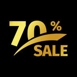 Black banner discount purchase 70 percent sale vector gold logo on a black background. Promotional business offer for. Buyers logotype. Seventy percentage off vector illustration