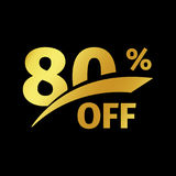 Black banner discount purchase 80 percent sale vector gold logo on a black background. Promotional business offer for Royalty Free Stock Images
