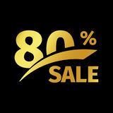 Black banner discount purchase 80 percent sale vector gold logo on a black background. Promotional business offer for Stock Photo