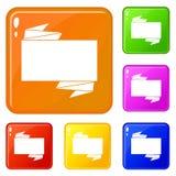 Black banner icons set vector color. Black banner icons set collection vector 6 color isolated on white background stock illustration