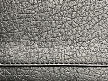 Black banner with leather texture and bottom seam. Leather background with copy space royalty free stock photography