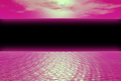 Black banner pink. Pink water and sky seperated by black banner Royalty Free Stock Photo