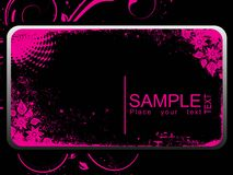 Black banner with pink flower Royalty Free Stock Image