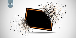 Black banner with red frame with fragments isolated on white background. Abstract black explosion with small particles. Vector. Black banner with red frame with vector illustration