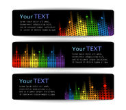 Black banners with abstract multicolored equalizer Stock Photos