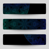 Black banners with blue geometric decoration. Royalty Free Stock Photography