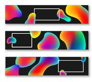 Black banners with colour bubbles. Black banners with white rectangular frame and abstract rainbow bubbles. Vector illustration Royalty Free Stock Images
