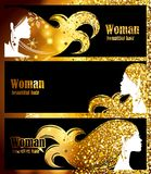 Black Banners, golden background bright sparkles, golden glow, beautiful feminine silhouette stylish hair. template design decorat Royalty Free Stock Photo