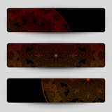 Black banners with red geometric decoration. Royalty Free Stock Image