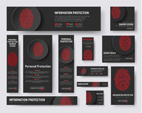 Black banners templates with a fingerprint and a button for pro. Set of web banners of standard size. Black templates with a fingerprint and a button for Stock Photo