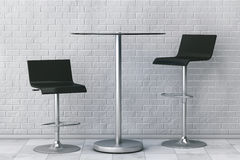 Black Bar Vintage Stools with Table. 3d Rendering Royalty Free Stock Image