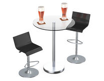 Black Bar Vintage Stools with Table and Glasses of Beer Royalty Free Stock Image